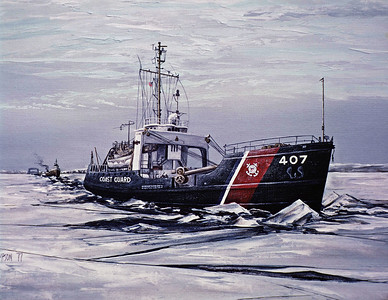 "1977:  ""USCGC WOODRUSH, Cutting a Track"""