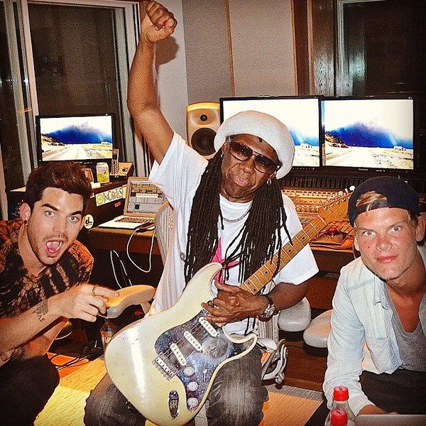 """Nile Rodgers<br /> #Funky Flashback: #AdamLambert #NileRodgers (me) & #Avicii after finishing a new song<br /> <a href=""""https://www.facebook.com/photo.php?fbid=10152184112618923"""">https://www.facebook.com/photo.php?fbid=10152184112618923</a>"""