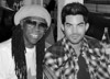 Me and Adam Lambert at Cafe Luxembourg figuring out our set for the NR Dance Party bw