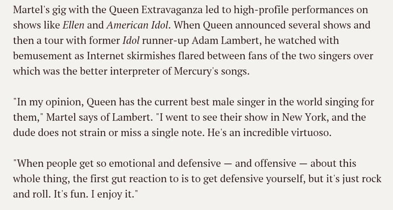 """Marc Martel re @adamlambert """"Queen has the current best male singer in the world singing for them"""" <a href=""""http://www.usatoday.com/story/life/music/2014/09/03/marc-martel-paradise-premiere/14996237/"""">http://www.usatoday.com/story/life/music/2014/09/03/marc-martel-paradise-premiere/14996237/</a>"""