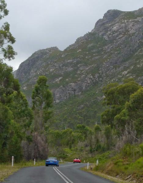 Great road into Mackintosh Dam cutting under Mount Farrell