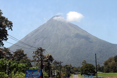 Among my first glimpses of the volcano on the road to our hotel The Springs.