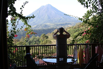 Photographing Nan who is photographing the volcano.