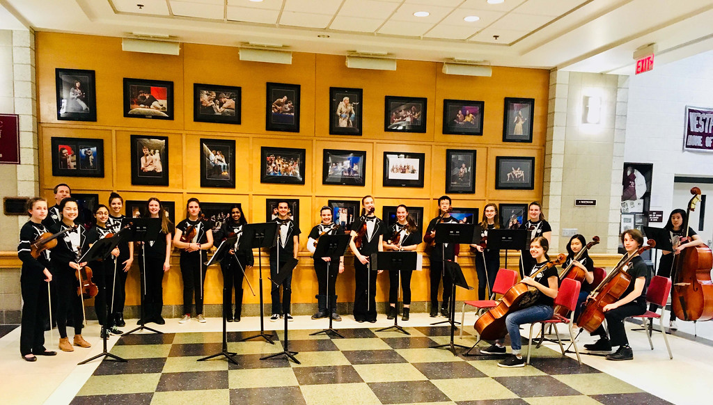 . Ken Culver and the Westford Academy Troubadours serenade the guests in the gorgeous Westford Academy Performing Arts Center�s foyer