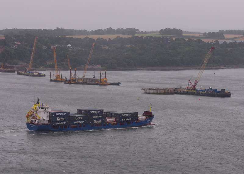 South Tower & Southern Approach Viaduct. The containership Geest Trader is passing.
