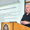 Leominster firefighter Lance Mason who travels across the country training fire departments on autism and how to handle it when they show up at calls was at the station in Fitchburg teaching their firefighters on Thursday morning at the North Street Fire Station. SENTINEL & ENTERPRISE/JOHN LOVE