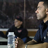 Leominster firefighter Lance Mason who travels across the country training fire departments on autism and how to handle it when they show up at calls was at the station in Fitchburg teaching their firefighters on Thursday morning at the North Street Fire Station. Listening to Mason during the class is Fitchburg firefighter David Williams. SENTINEL & ENTERPRISE/JOHN LOVE
