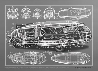 dymaxion car, blueprints and drawings