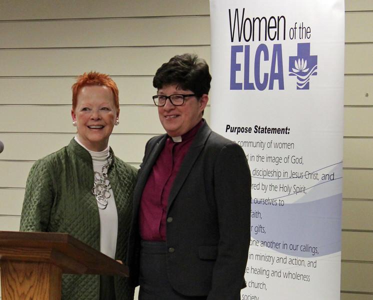 Patti Austin, executive board president, with ELCA presiding bishop, Elizabeth Eaton