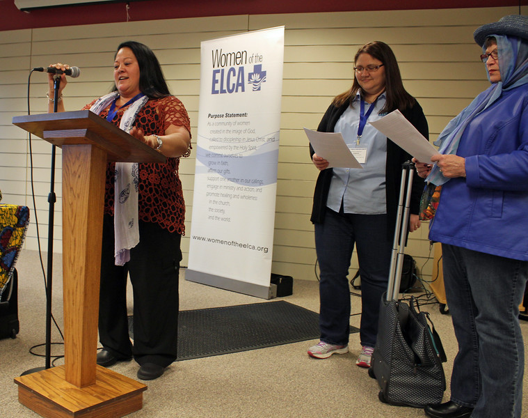 The Conference of President's planning team put on a skit. Left to right, Tina Bigalow, Jennifer Armstrong-Schaefer and Dianne Henning