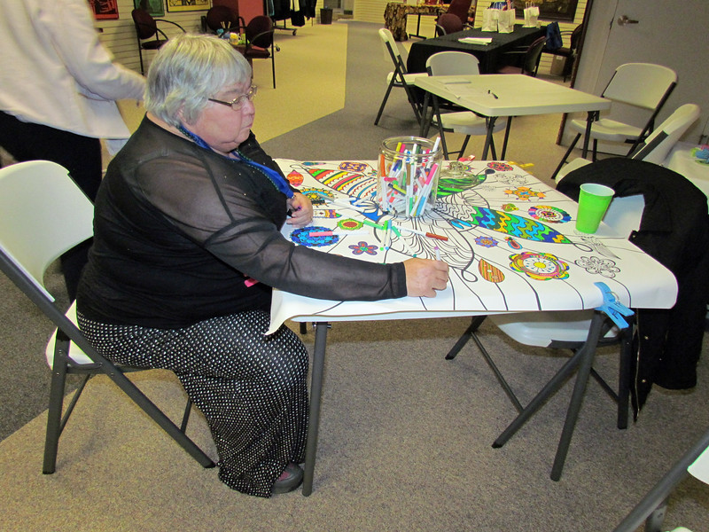 Susan Mangels, Southeastern Iowa, colors on the table coloring sheet
