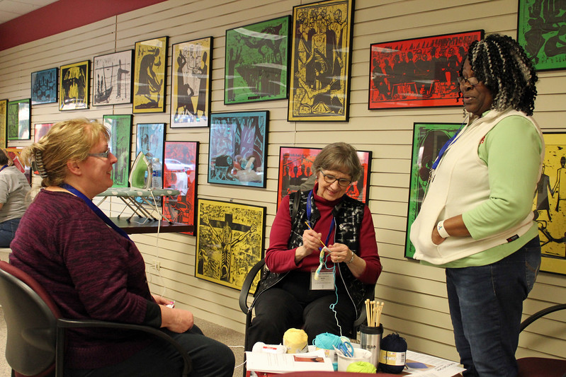 Barbara White,  Ruth Beck,  Deborah Banks-Williams chat after a session