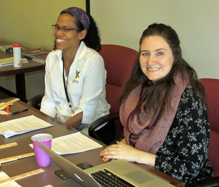 Elizabeth Hunter, editor of Gather, left, and Sarah Carson, associate editor, lead a workshop
