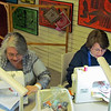 Dinah L. Halopka-Ryson, right, and Glenda Ofstehage sew labyrinths