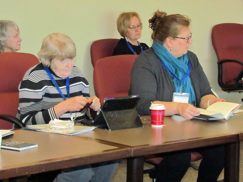 Sandra Blosser, left, and Joy Grace attend a workshop