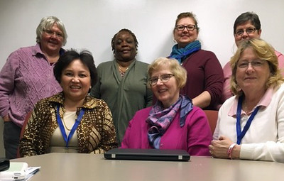 Seated, left to right:<br /> Ade Monareh, New England (7-B)<br /> Audrey Riley (staff)<br /> Marilyn Masza, Northeastern Pennsylvania (7-E)<br /> <br /> Standing, left to right:<br /> Irene Germain, Metro New York (7-C)<br /> Jean Wilkinson-Heard, New Jersey (7-A)<br /> Joy Grace, Southeastern Pennsylvania (7-F)<br /> Susan Fox, Upstate New York (7-D)