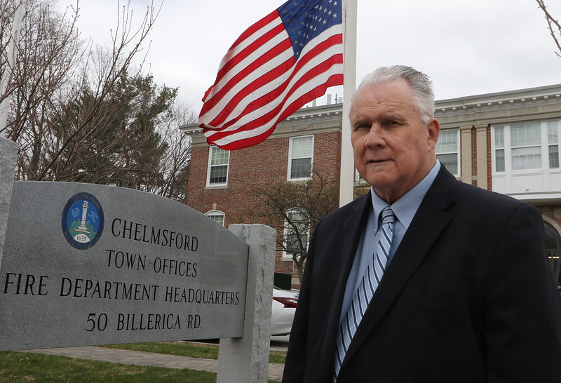 Chelmsford selectman George Dixon, who was re-elected to Board of Selectmen, outside Town Hall. JULIA MALAKIE/LOWELLSUN
