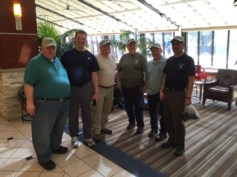 Gathering at the LA hotel..<br />  Left to Right<br />  Dennis Woytek, Teddy Montouri, Dennis Waler, Randy Berg, Dennis Trout, Ray Cruz