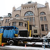 Air is pumped into Pollard Memorial Library, to dry out areas affected by floooding caused by burst pipes above the Reference Room. (SUN/Julia Malakie)