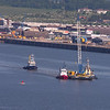 Tugs Carron & Tummel moving a crane barge out to the South Tower Caisson. Tug SMS Shoalbuster behind.