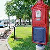 The fire/police box on the common in Leominster which was getting a makeover was finished by Wednesday. SENTINEL & ENTERPRISE/JOHN LOVE
