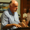 Lowell City Council listens to public comment ahead of the vote on the location for the new Lowell High School. Leo Creegan speaks in support of Cawley, citing the economic benefits to downtown Lowell of reusing the current Lowell High space. (SUN/Julia Malakie)