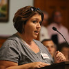 Lowell City Council listens to public comment ahead of the vote on the location for the new Lowell High School. Shelby Boisvert speaks in support of the Cawley location. (SUN/Julia Malakie)