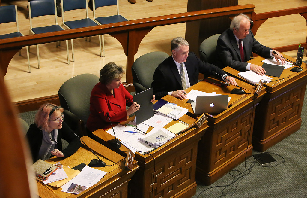 . At Lowell City Council, Rita Mercier sits in the seat of absent Dave Conway, instead of her usual seat in alphabetical order, between John Leahy and Jim Milinazzo. From left, Karen Cirillo, Rita Mercier, Rodney Elliott and Edward Kennedy. (SUN/Julia Malakie)