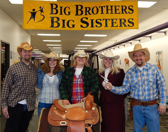 The staff at Anytime Fitness dresses up and gets into the spirit of the Big Brothers Big Sisters Mentor Round Up.