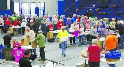 Working together at the Kids Against Hunger and Greensburg Ministerial Association to pack 25,000 meals to go to the Philippines to help with relief efforts after the devastating typhoon.