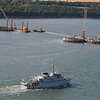 Belgian Minehunter BNS Bellis about to pass the South Tower caisson.