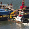 Workboat Laura M at the barge alongside the North Tower caisson.