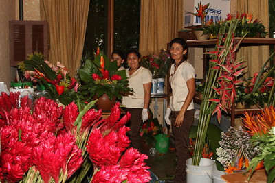 The florist room and the ladies who create the gorgeous arrangements.