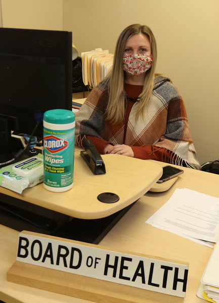 New Tewksbury health director Shannon Sullivan, at her office in Town Hall. (SUN/Julia Malakie)
