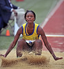 PHILADELPHIA - APRIL 26: Opal James from Jamaica competes in the girls high school long jump championship at the Penn Relays April 26, 2012 in Philadelphia.
