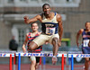 PHILADELPHIA - APRIL 27: Jerome Lowrey from Pitt (35) clears a hurdle in the 400 meter hurdles at the 2012 Penn Relays April 27, 2012 in Philadelphia.