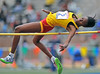 PHILADELPHIA - APRIL 26: Shanice Hall from Wolmers HS competes in the girls high school high jump championship at the Penn Relays April 26, 2012 in Philadelphia.