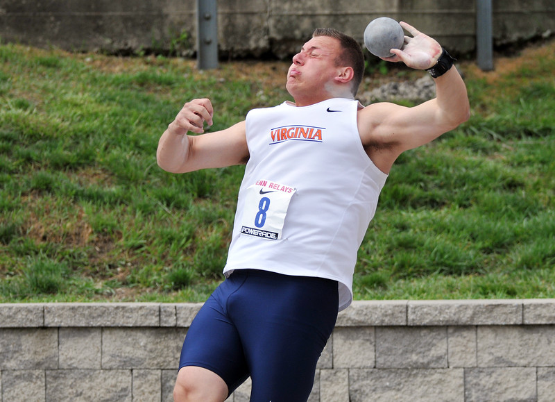 PHILADELPHIA - APRIL 27: Nick Vena from Virginia competes in the shot put  at the 2012 Penn Relays April 27, 2012 in Philadelphia.