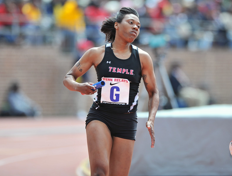 PHILADELPHIA - APRIL 28: Crystal Hercules from Temple runs in the 4x100 relays at the Penn Relays April 28, 2012 in Philadelphia.