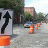 Two-way traffic begins on Market, Central, Merrimack and Shattuck Streets in downtown Lowell. Shattuck Street, looking north from Market Street, is now two-way. A sign reminds drivers they can now go northbound. (SUN/Julia Malakie)
