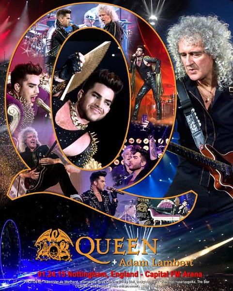 mlg<br /> @mlg621<br /> Poster 01.24.15 Nottingham, UK – Capital FM Arena @QueenWillRock + @adamlambert. Unofficial. Design by @weelassie11