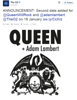 """The O2<br /> @TheO2<br /> ANNOUNCEMENT: Second date added for @QueenWillRock and @adamlambert @TheO2 on 18 January <br /> <br /> <a href=""""http://ow.ly/CcXrz"""">http://ow.ly/CcXrz</a>"""