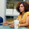 Actress Karyn Parsons chats about her project to bring stories about African Americans, who have done great things, to the kids of today. She brought her project to the kids at the Leominster/Fitchburg Boy's & Girls Club on Tuesday morning. SENTINEL & ENTERPRISE/JOHN LOVE