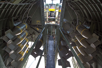 Walking from back of plane to the front  with the bomb bay doors open - assume this is how it would be in flight when dropping bombs.