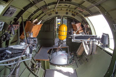 Back of plane with the machine gunners on side. Tthe sphere in center is entrance to where the bottom gunner sat.