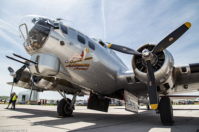 Bombardier sits in front nose of the B17 plane.