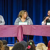 "Skyler Robinson, Natasha Clark and Juan Rivera lead a panel discussion during the ""I Create My Future"" Youth Summit at the Boys & Girls Club on Saturday morning. SENTINEL & ENTERPRISE / Ashley Green"