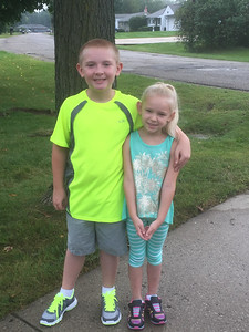 Mason, a fourth grader, and sister Madison, who starts second grade. Submitted by Becky Cook.