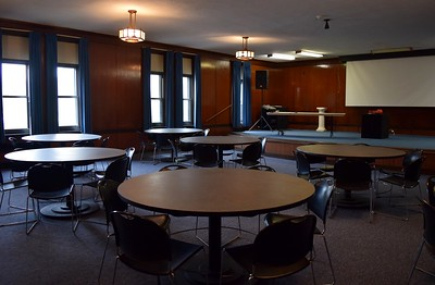 A meeting space, which could potentially be used for corporations who use Erebus as a team building exercise, at Erebus Escape, 34 Oakland Ave. in downtown Pontiac, on Friday, May 5, 2017.