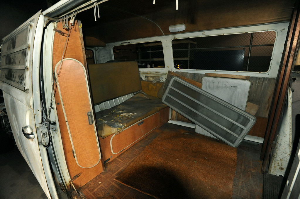 . Part of the interior of the VW van once owned by Jack Kevorkian.  Jack Finn, a VW parts expert, bought the van from Kevorkian prior to his incarceration.  Finn has put the van for sale on ebay.  Photo taken on Friday, April 23, 2010, in Auburn Hills, Mich.  (The Oakland Press/Jose Juarez)